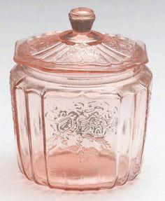Photo of pink depression era glass jar:  Bing Photos